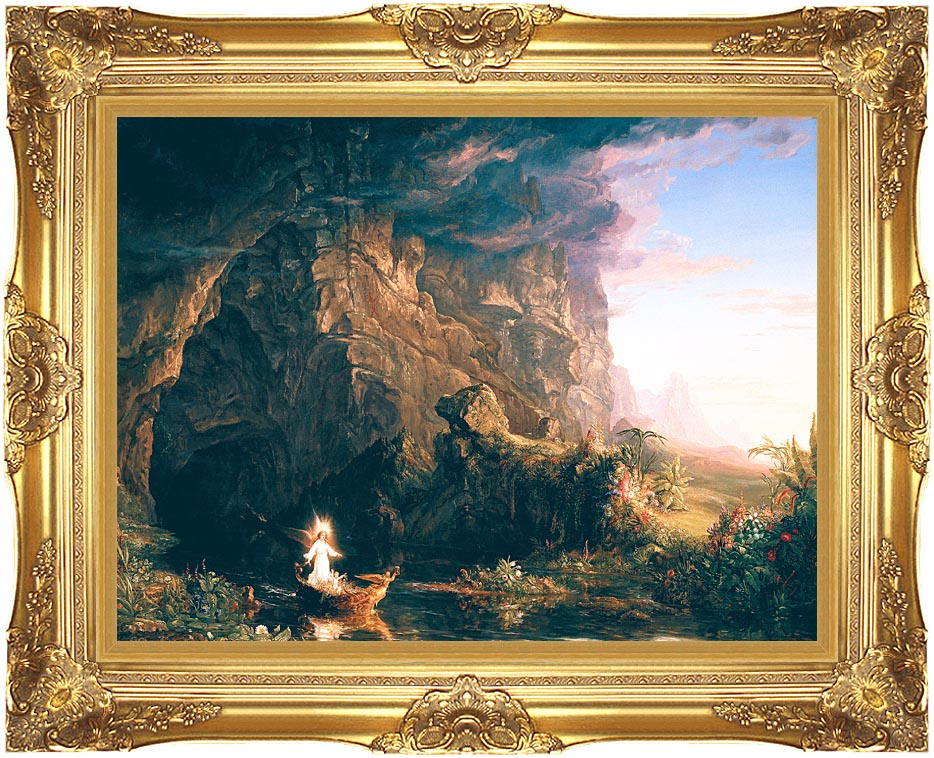 Thomas Cole The Voyage of Life: Childhood with Majestic Gold Frame