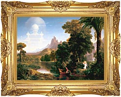 Thomas Cole The Voyage Of Life Youth canvas with Majestic Gold frame