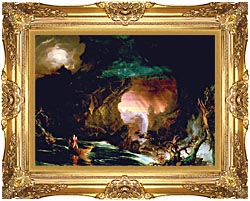Thomas Cole The Voyage Of Life Manhood canvas with Majestic Gold frame