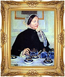 Mary Cassatt Lady At The Tea Table canvas with Majestic Gold frame