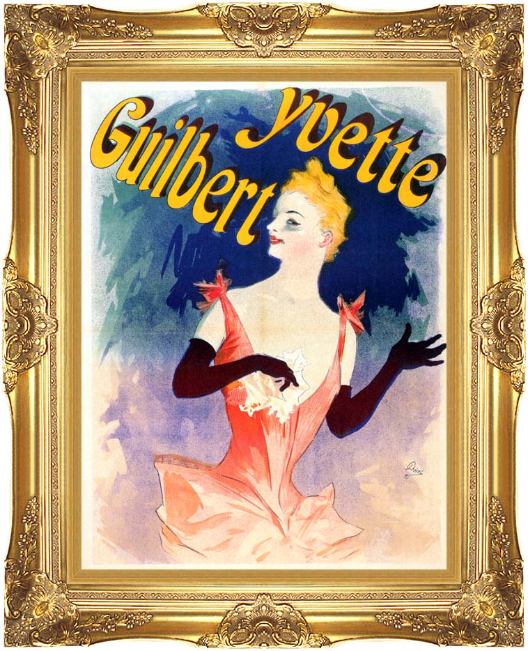 Jules Cheret Yvette Guilbert au Concert Parisien with Majestic Gold Frame