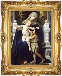 William Bouguereau Madonna And Child With Saint John The Baptist canvas with Majestic Gold frame