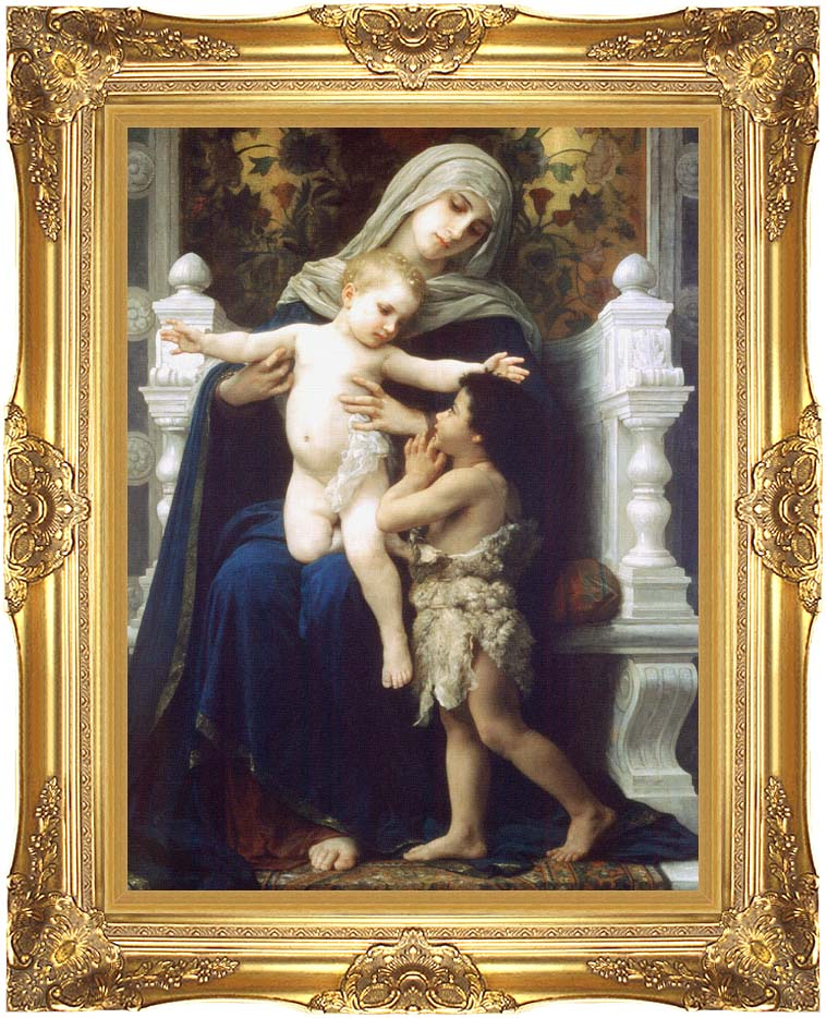 William Bouguereau Madonna and Child With Saint John The Baptist with Majestic Gold Frame