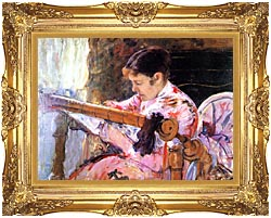 Mary Cassatt Lydia At The Tapestry Loom canvas with Majestic Gold frame