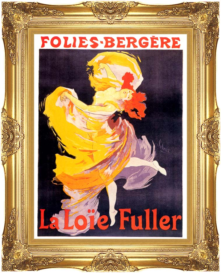 Jules Cheret Folies-Bergere La Loie Fuller with Majestic Gold Frame