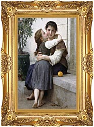 William Bouguereau A Little Coaxing canvas with Majestic Gold frame