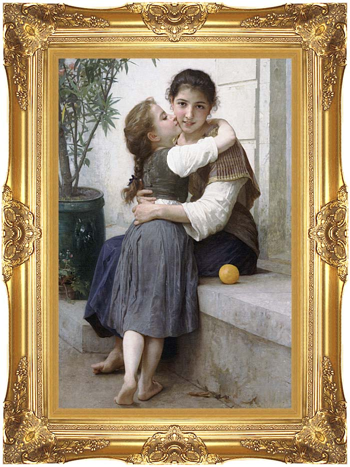 William Bouguereau A Little Coaxing with Majestic Gold Frame