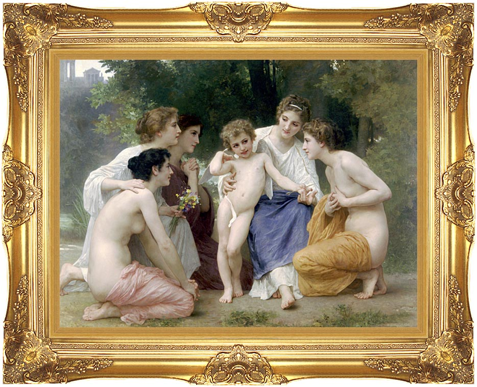 William Bouguereau Admiration with Majestic Gold Frame
