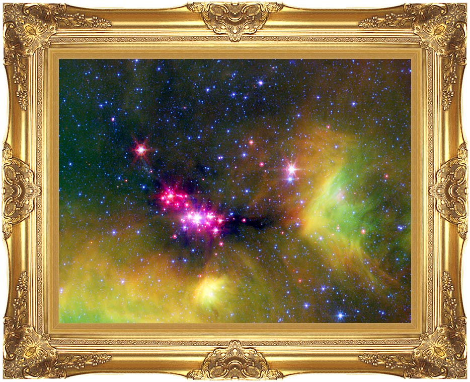 Courtesy Nasa Jpl Caltech Stars in Serpens with Majestic Gold Frame
