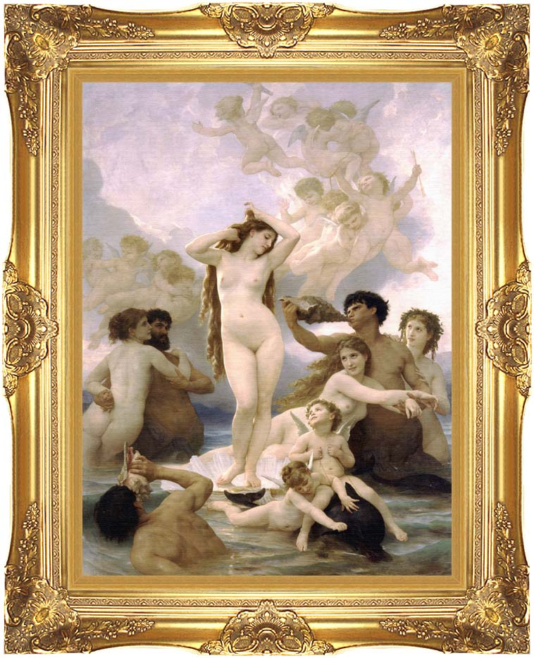 William Bouguereau The Birth of Venus with Majestic Gold Frame