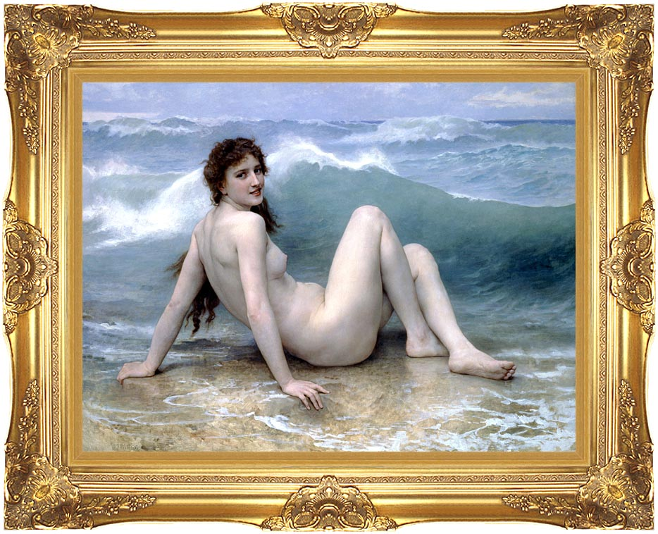William Bouguereau The Wave with Majestic Gold Frame