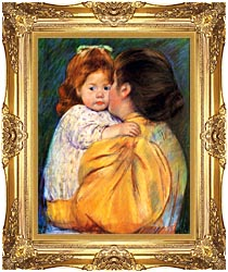 Mary Cassatt Maternal Kiss canvas with Majestic Gold frame