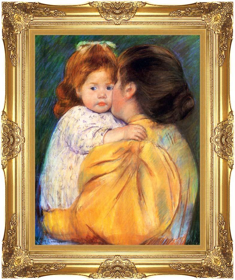 Mary Cassatt Maternal Kiss with Majestic Gold Frame