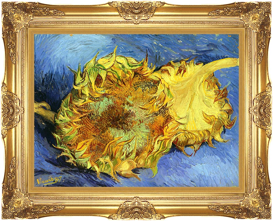 Vincent van Gogh Two Sunflowers with Majestic Gold Frame