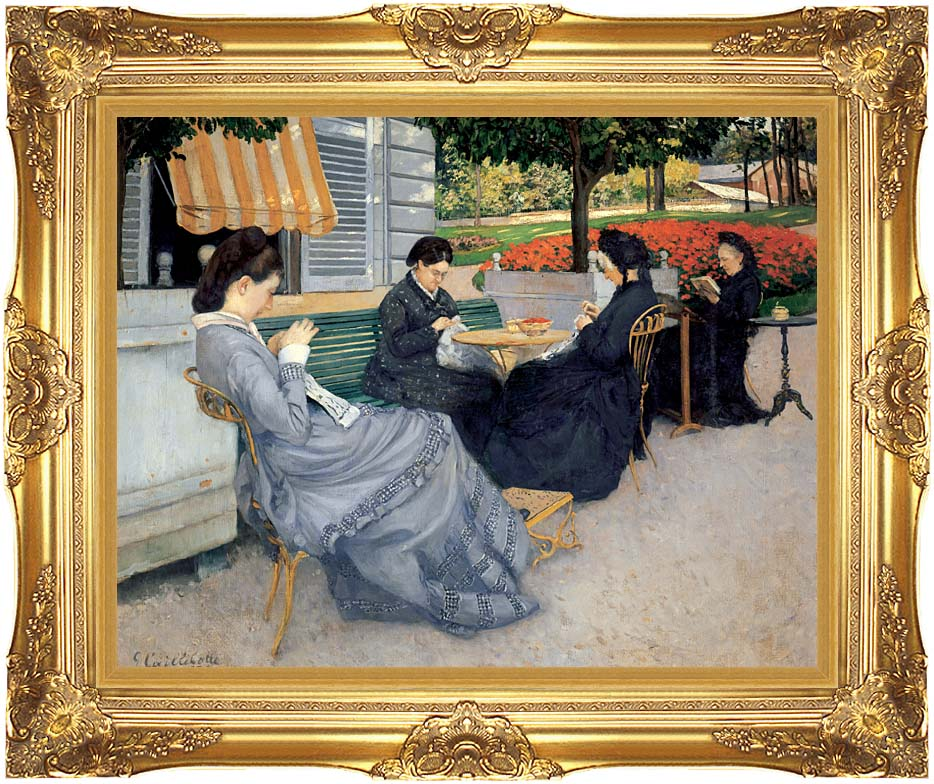 Gustave Caillebotte Portraits in the Countryside with Majestic Gold Frame