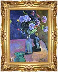 Paul Gauguin Roses And Statuette canvas with Majestic Gold frame