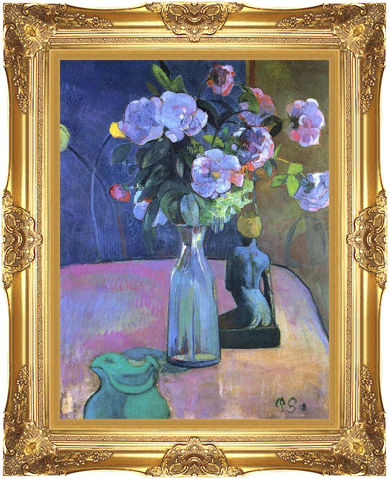 Paul Gauguin Roses and Statuette with Majestic Gold Frame