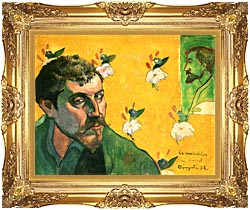 Paul Gauguin Self Portrait Dedicated To Vincent Van Gogh canvas with Majestic Gold frame
