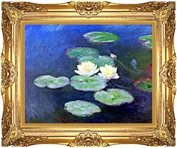 Claude Monet Nympheas Effet Du Soir canvas with Majestic Gold frame