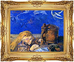 Paul Gauguin Sleeping Child canvas with Majestic Gold frame