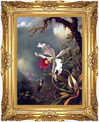 Martin Johnson Heade An Amethyst Hummingbird With A White Orchid canvas with Majestic Gold frame