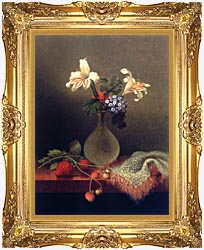 Martin Johnson Heade A Vase Of Corn Lilies And Heliotrope canvas with Majestic Gold frame