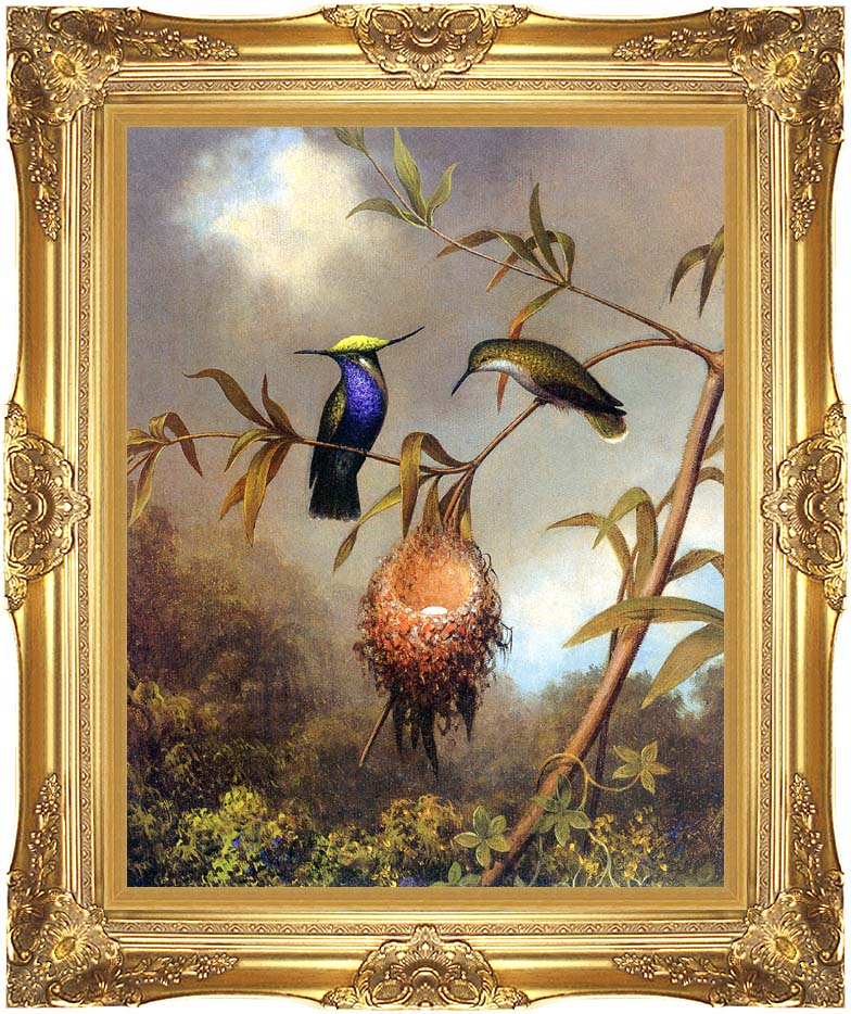 Martin Johnson Heade Black Breasted Plovercrest with Majestic Gold Frame