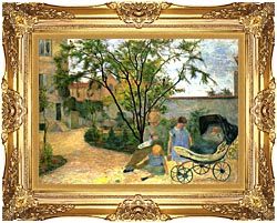 Paul Gauguin The Artists Family In The Garden Of Rue Carcel canvas with Majestic Gold frame