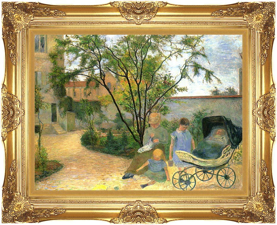 Paul Gauguin The Artist's Family in the Garden of Rue Carcel with Majestic Gold Frame