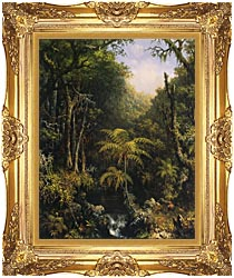 Martin Johnson Heade Brazilian Forest canvas with Majestic Gold frame
