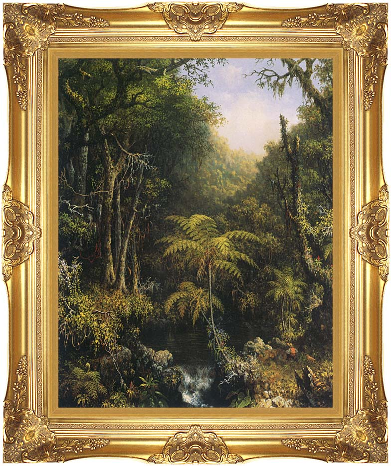 Martin Johnson Heade Brazilian Forest with Majestic Gold Frame