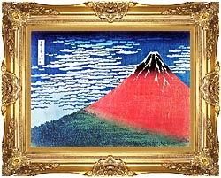 Katsushika Hokusai Mount Fuji In Clear Weather canvas with Majestic Gold frame