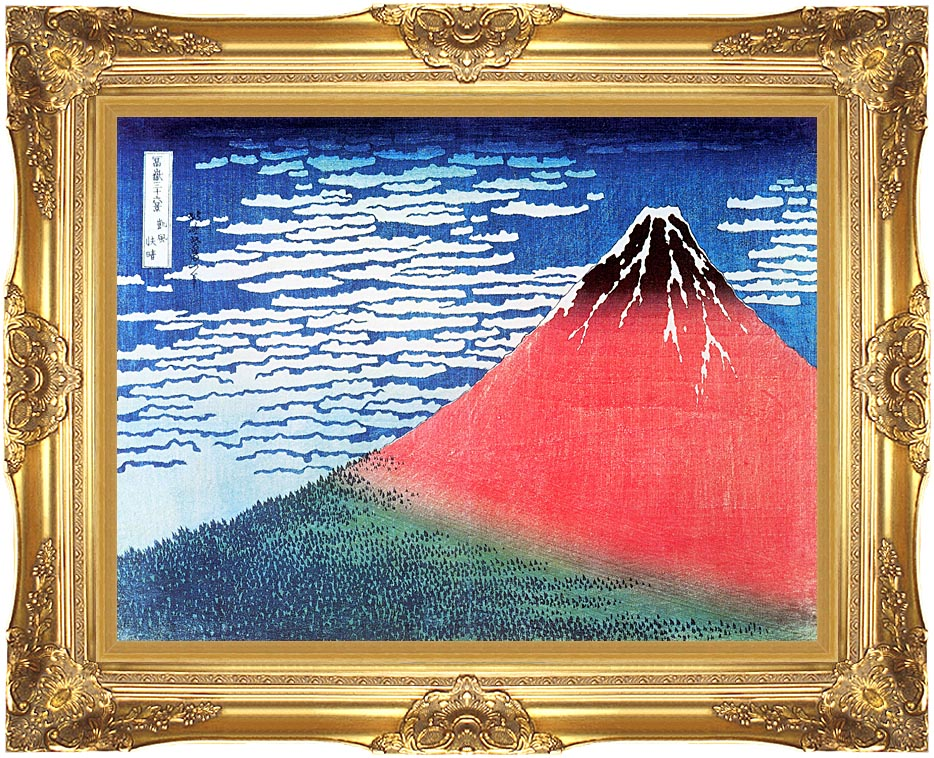 Katsushika Hokusai Mount Fuji in Clear Weather with Majestic Gold Frame