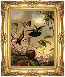 Martin Johnson Heade Fork Tailed Woodnymph canvas with Majestic Gold frame