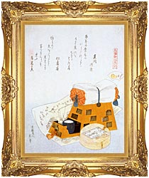 Katsushika Hokusai A Pillow And A Drawing Of A Good Luck Ship A New Years Custom canvas with Majestic Gold frame