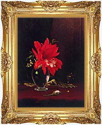Martin Johnson Heade Red Flower In A Vase canvas with Majestic Gold frame