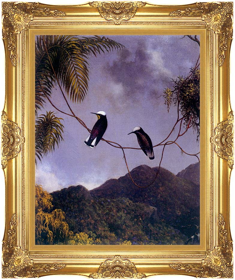 Martin Johnson Heade Snowcap Hummingbirds with Majestic Gold Frame