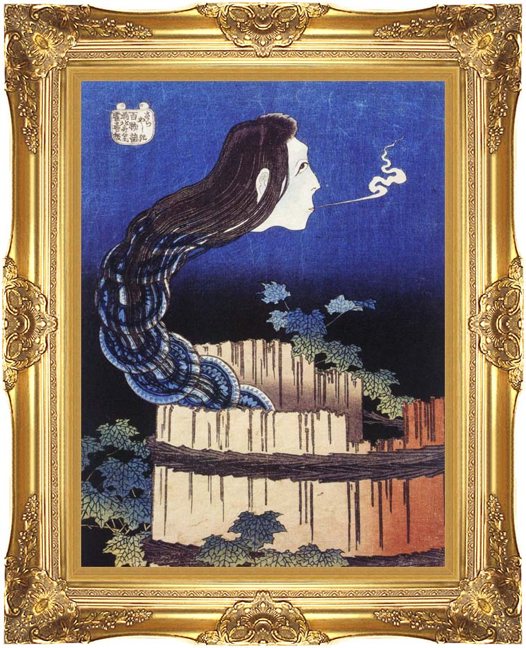 Katsushika Hokusai Okiku, The Plate Specter with Majestic Gold Frame