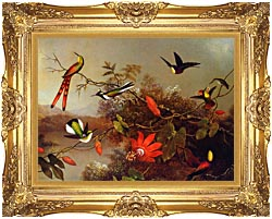 Martin Johnson Heade Tropical Landscape With Ten Hummingbirds canvas with Majestic Gold frame
