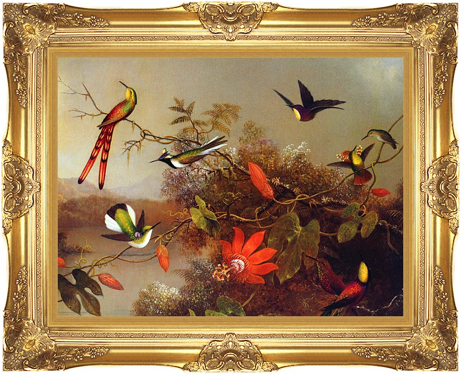 Martin Johnson Heade Tropical Landscape with Ten Hummingbirds with Majestic Gold Frame