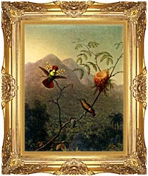 Martin Johnson Heade Tufted Coquette canvas with Majestic Gold frame