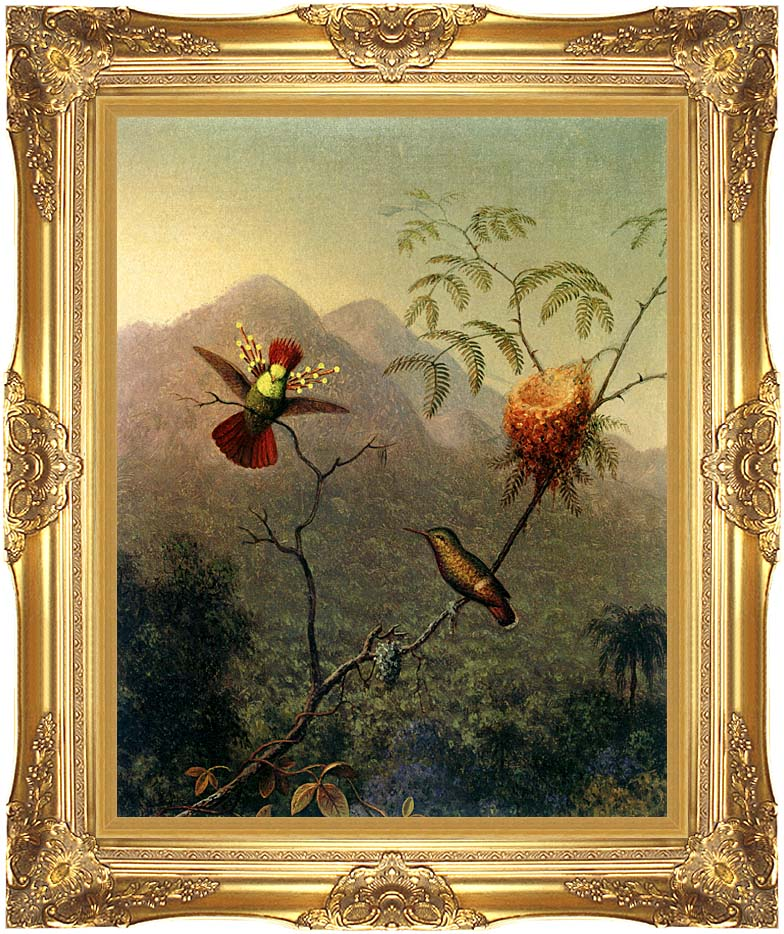 Martin Johnson Heade Tufted Coquette with Majestic Gold Frame