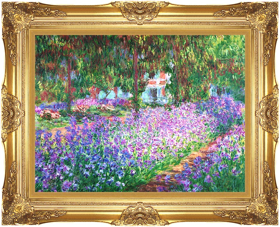 Claude Monet The Artist's Garden at Giverny (detail) with Majestic Gold Frame