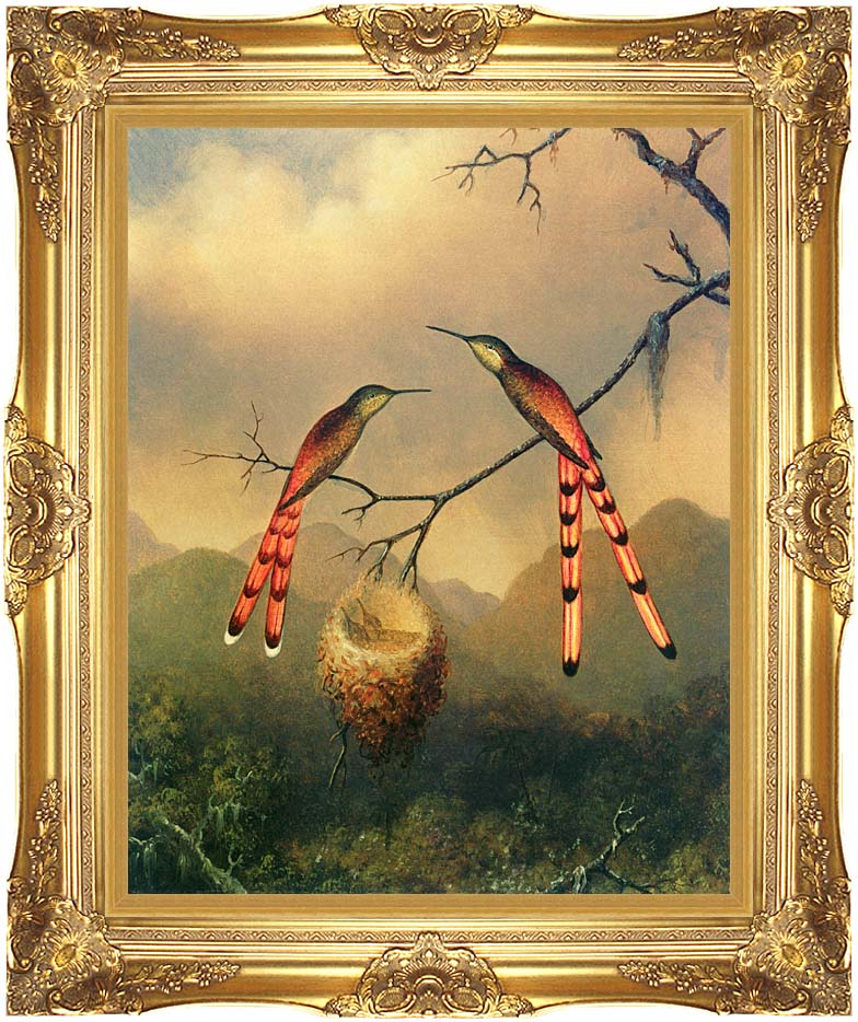 Martin Johnson Heade Two Hummingbirds with their Young with Majestic Gold Frame