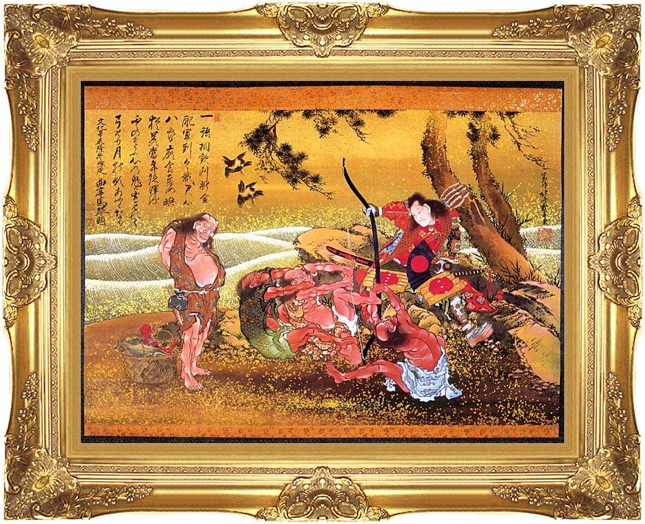 Katsushika Hokusai Tametomo and the Demons at Onigashima with Majestic Gold Frame