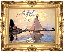 Claude Monet Sailboat At Petit Gennevilliers canvas with Majestic Gold frame