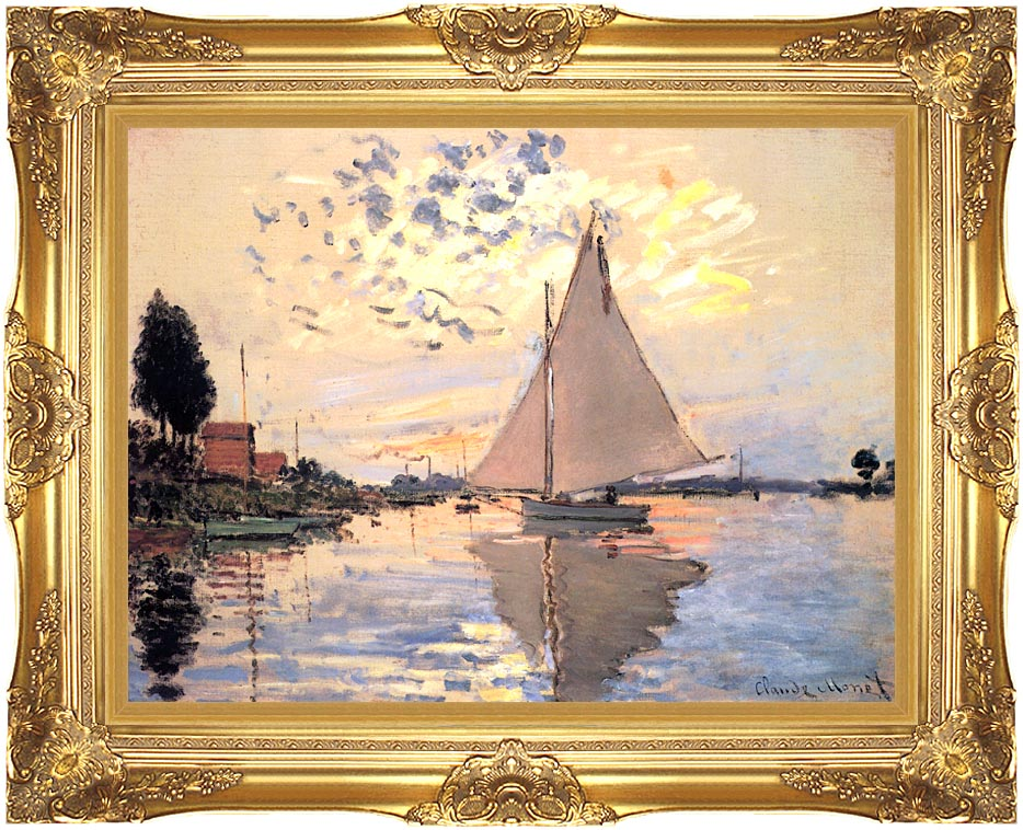 Claude Monet Sailboat at Petit-Gennevilliers with Majestic Gold Frame