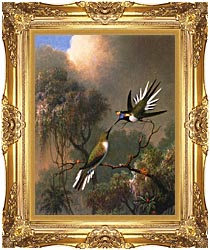 Martin Johnson Heade Two Sungems On A Branch canvas with Majestic Gold frame