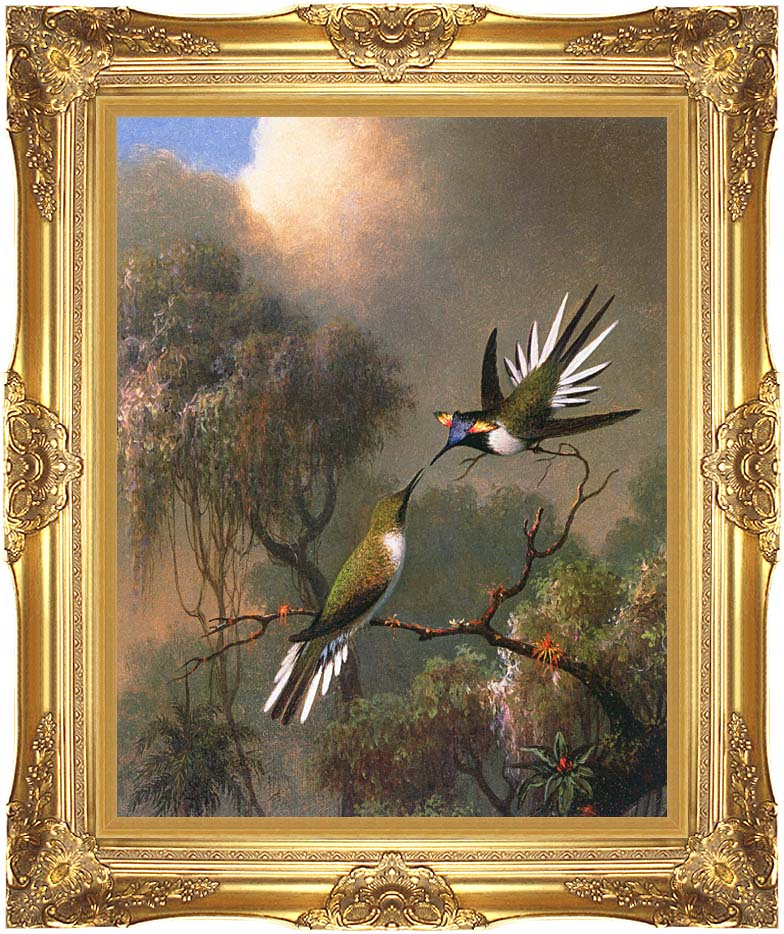 Martin Johnson Heade Two Sungems on a Branch with Majestic Gold Frame