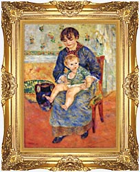 Pierre Auguste Renoir Mother And Child In A Chair canvas with Majestic Gold frame